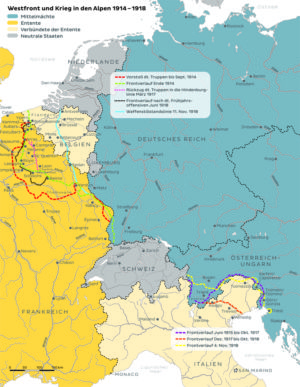 West- und Südfront 1914 bis 1918