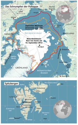 Nordpol und Spitzbergen