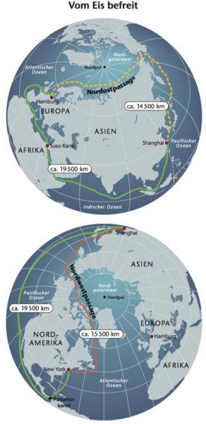 Nordostpassage und Nordwestpassage