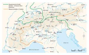 Wasserscheide in den Alpen