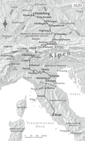 Route Heidelberg nach Rom 1623