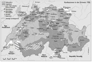 Konfessionen in der Schweiz 1700