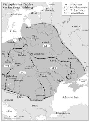 Jüdische Dialekte in Osteuropa um 1900
