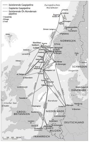 Gas- und Ölpipelines in der Nordsee