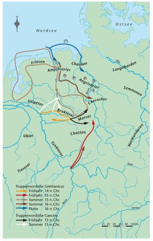 Truppenvorstöße von Germanicus 14–16 nach Christus