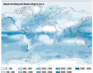 Globale Verteilung des Niederschlags in der Welt