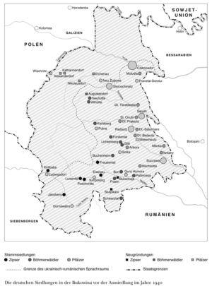Deutsche Siedlungen in der Bukowina 1940