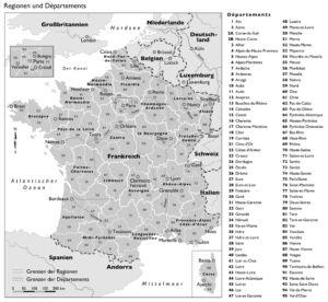 Frankreich Regionen und Départements