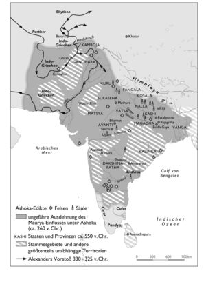 Buddhistisches Indien und das Maurya-Reich 260 v. Chr.
