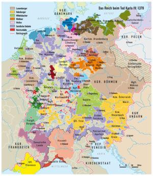 Mitteleuropa beim Tod Karls IV. 1378