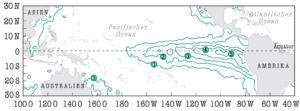 Während des El Nino 1997 beobachtete Anomalie der Meeresoberflächentemperatur in °C
