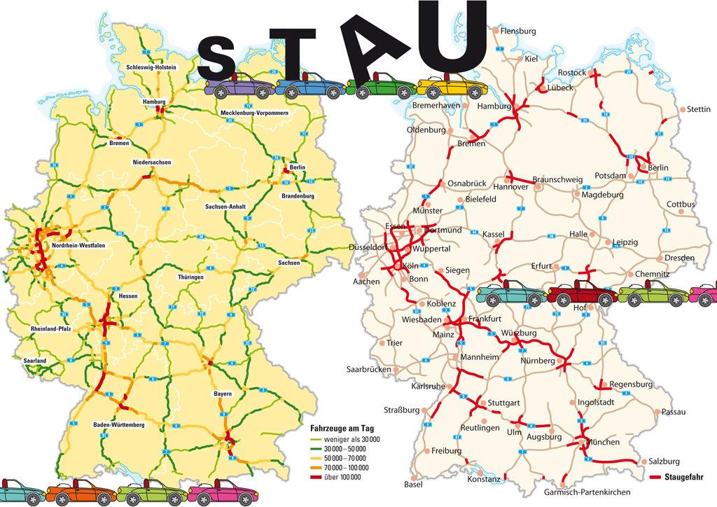 Geduld und Zeit benötigt man auf Deutschlands Autobahnen