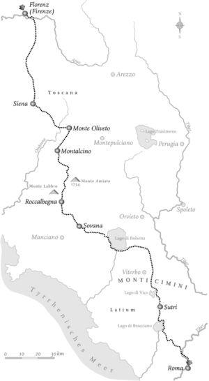 Reise von Florenz nach Rom