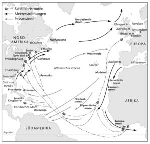 Schifffahrtsrouten im Atlantik