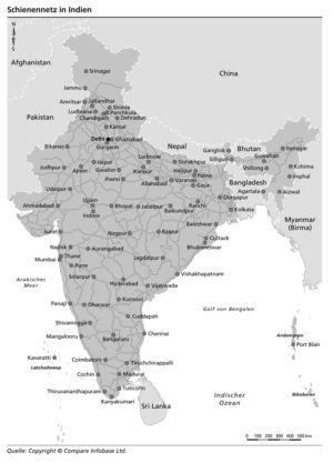 Schienennetz in Indien