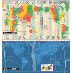 Zeitzonen in der Welt 2007 und 2016