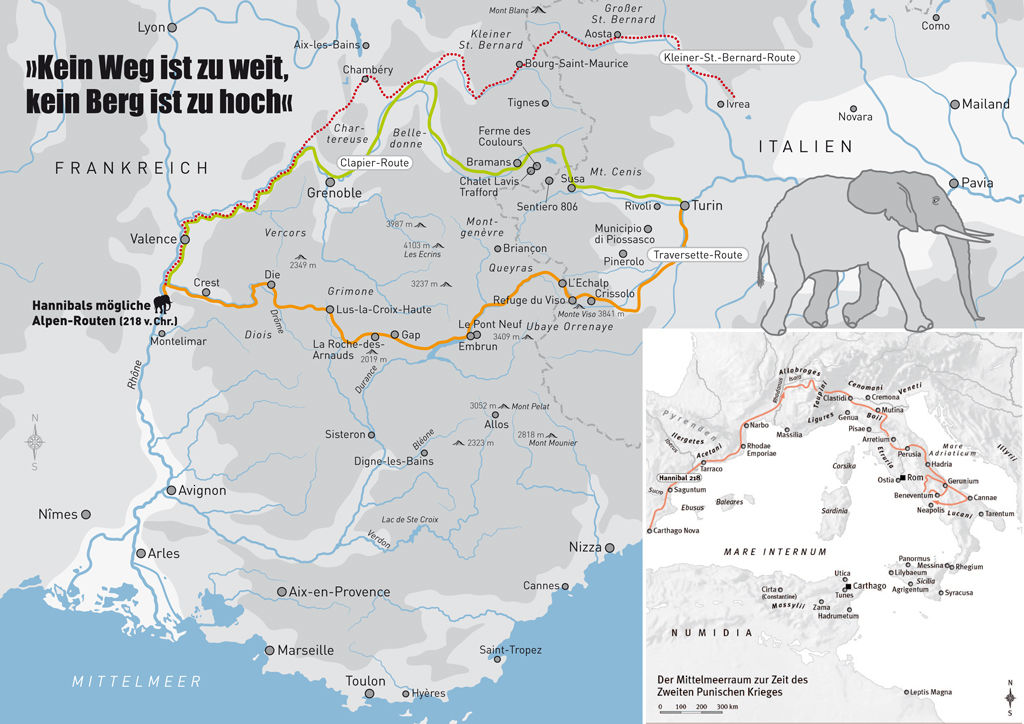 Hannibal's possible routes across the Alpes in 218 BC