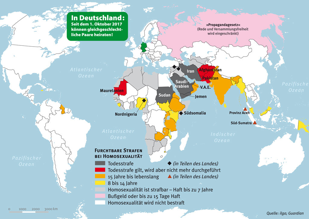 Countries where homosexuality is still punished today