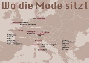 Verteilung der Hauptniederlassungen verschiedener Modehäuser