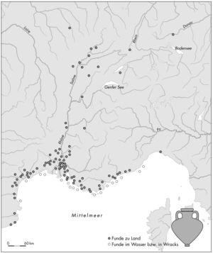 Verbreitung massaliotischer Weinamphoren im 6. Jahrhundert v. Chr.