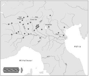 Verbreitung keltischer Glasarmringe in Oberitalien