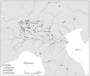 Verbreitung der keltischen Inschriften Oberitaliens