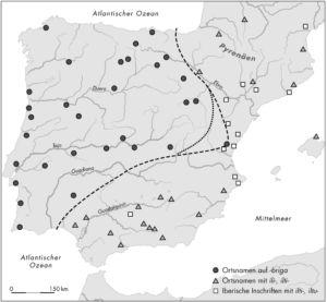 Verbreitung indogermanischer und iberischer Ortsnamen