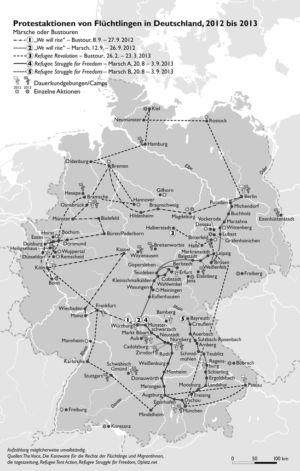 Protestaktionen von Flüchtlingen in Deutschland, 2012 bis 2013