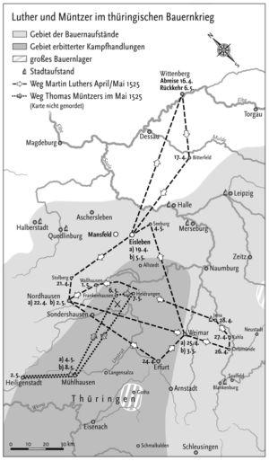 Luther und Müntzer in thüringischen Bauernkriegen