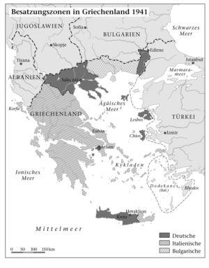 Besatzungszonen in Griechenland 1941