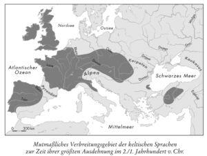 Mutmaßliches Verbreitungsgebiet der kelitschen Sprachen zur Zeit ihrer größten Ausdehnung im 2./1. jahrhundert v. Chr.
