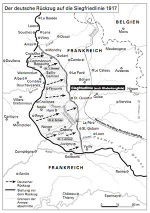 The German withdrawal to the Siegfried Line in 1917